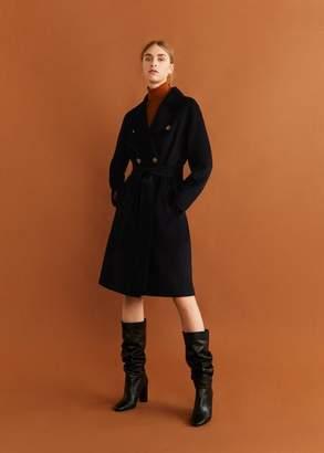 MANGO Structured wool coat burnt orange - XXXS - Women