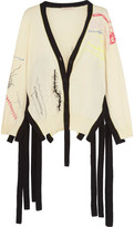 Christopher Kane Two-Tone Embroidered-Cotton Cardigan