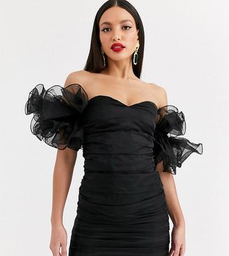 Club L London Tall extreme ruffle sleeve ruched mini bardot dress in black