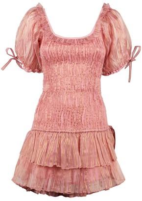 LoveShackFancy Silk Organza Violet Mini Dress