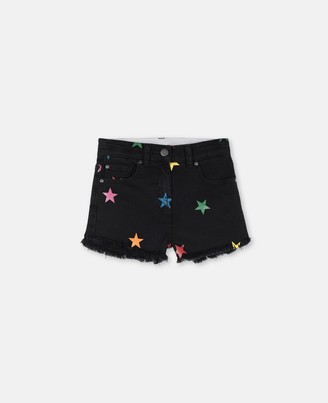 Stella Mccartney Kids Stella McCartney glitter stars denim shorts