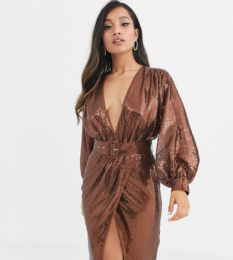 ASOS DESIGN Petite midi dress with blouson sleeve and belt in irridescent sheet sequin