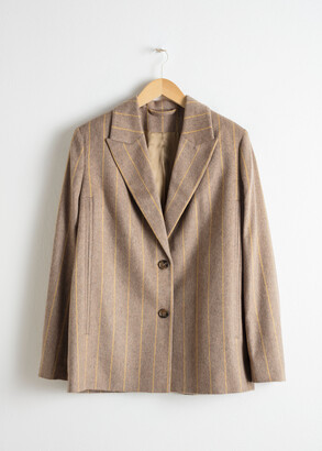 And other stories Striped Wool Blend Cape Blazer