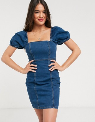 New Look puff sleeve denim mini dress in mid blue