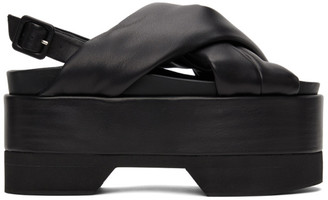 Simone Rocha Black Cross Strap Platform Sandals