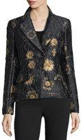 Donna Karan Metallic Floral-Embroidered Jacket, Black/Gold