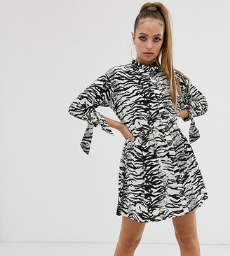 ASOS DESIGN Petite grandad collar button through mini smock dress with tie sleeve in mono zebra