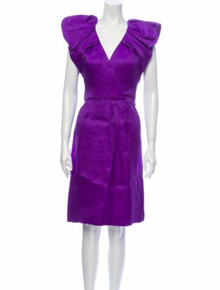 Oscar de la Renta V-Neck Knee-Length Dress Purple