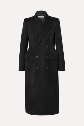 Balenciaga Hourglass Double-breasted Wool-blend Gabardine Coat - Black