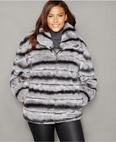 The Fur Vault Plus Size Rabbit Fur Bomber Jacket