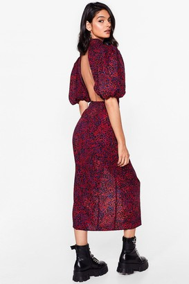 Nasty Gal Womens Puff Sleeve Me Alone Leopard Midi Dress - Red - 4