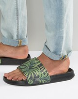 Slydes Slider Flip Flops In Palm Print
