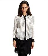 Wyatt black and white polka dot silk long sleeve blouse