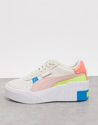 Puma Cali Wedge Pop trainers in white