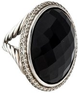 David Yurman Sterling Diamond & Onyx Signature Oval Cocktail Ring