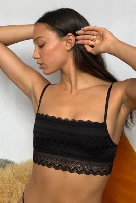 Out From Under Geo Lace Square Neck Bralette - Black M at Urban Outfitters