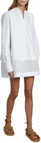 Valentino V-Neck Long-Sleeve Sheer Bottom Oversized Shirtdress