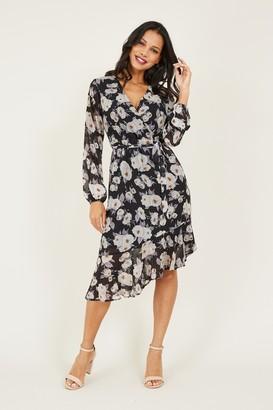 Yumi Black Floral Tie Asymmetric Dress