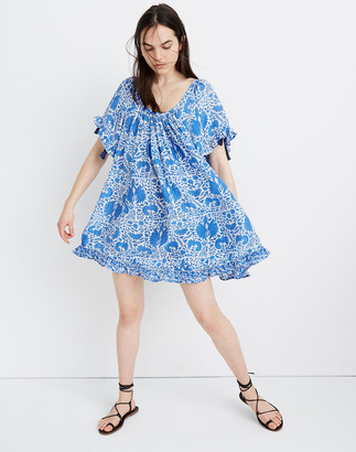 Madewell Natalie Martin Silk Marina Mini Dress in Wing Print