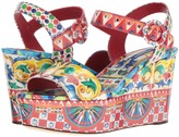 Dolce & Gabbana Carretto Patent Sandal Platform Wedge