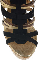 Jimmy Choo Suede and leather multi-strap wedge sandals