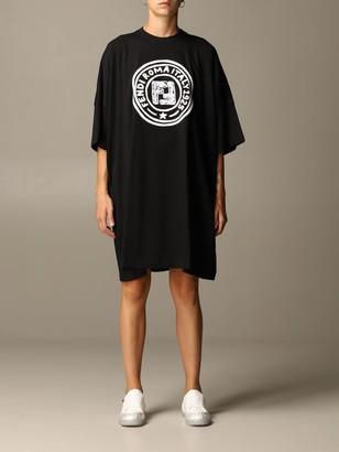 Fendi Cotton T-shirt Dress With Roma 1925 Logo