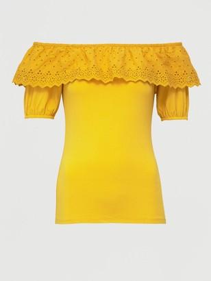 Very Broderie Trim Bardot Top - Mustard