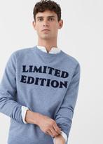 MANGO MAN Embossed Text Flecked Sweatshirt