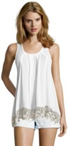 Romeo & Juliet Couture Sleeveless Woven Back Embroidery Tank.