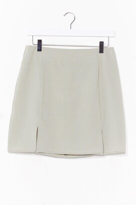 Nasty Gal Womens What's Slit Gonna Be High-Waisted Mini Skirt - Sage