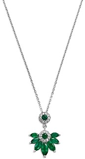 Bloomingdale's Emerald & Diamond Marquis Pendant Necklace in 14K White Gold - 100% Exclusive