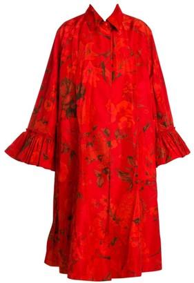 Valentino Floral Pleated Sleeve Anorak