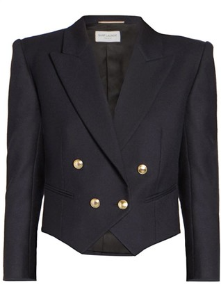 Saint Laurent Cropped Double Breasted Blazer