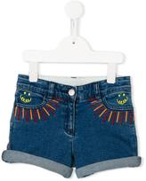 Stella McCartney Eddie rainbow embroidered shorts - kids - Cotton/Spandex/Elastane - 6 yrs