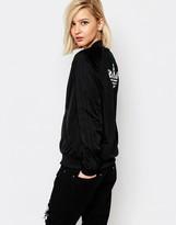 adidas 3 Stripe Bomber Jacket With Inked Print Trefoil Logo Back