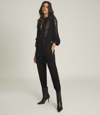 Reiss Aliyah - Lace Detail Blouse in Black