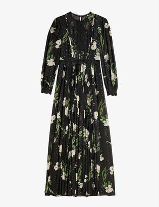 Ted Baker Deenha Elderflower-print lace-trimmed crepe maxi dress