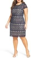 Eliza J Plus Size Women's Cap Sleeve Lace Shift Dress