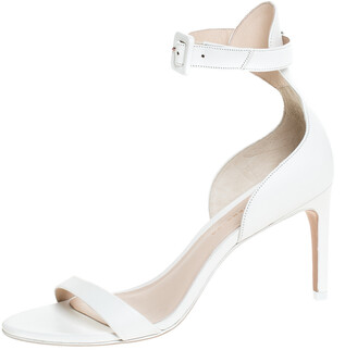 Sophia Webster White Leather Ankle Straps Sandals Size 36.5