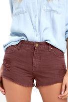Billabong Highway Washed Marsala Red Distressed Denim Shorts