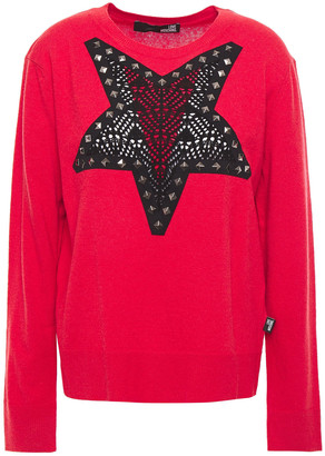 Love Moschino Studded Crochet-trimmed Intarsia-knit Sweater