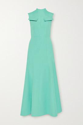 Emilia Wickstead Iago Cutout Pleated Cloque Maxi Dress - Turquoise