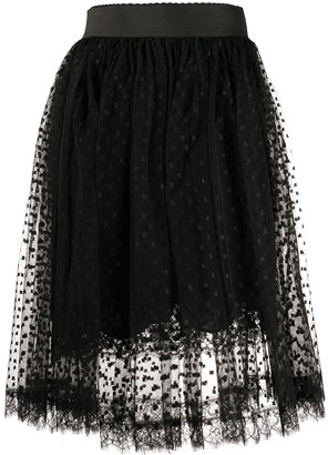 Dolce & Gabbana Pleated Lace Midi Skirt