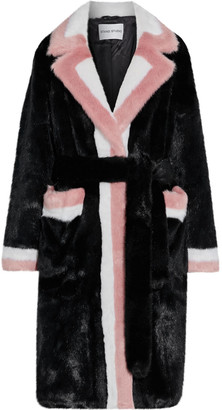 Stand Studio Kate Belted Color-block Faux Fur Coat
