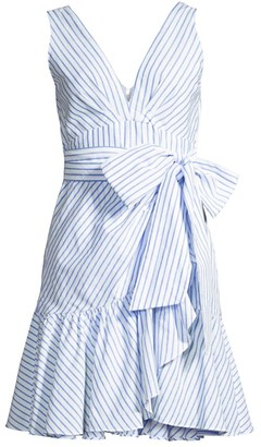 Rebecca Taylor Striped Wrap Flounce Dress