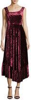 Nanette Lepore Vixen Asymmetric-Neck Sleeveless Velvet Dress