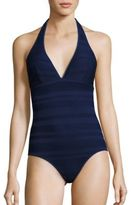 Shoshanna Eyelet Stripe One-Piece Swimsuit