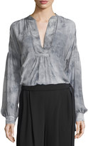 Vince Watercolor Marble Shirred Silk Blouse