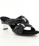 Onex Kylee Leather Rhinestone Criss Cross Metallic Trim Dress Slide Sandals