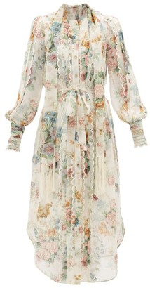 Zimmermann Wavelength Floral-print Silk Midi Dress - Womens - Cream Print
